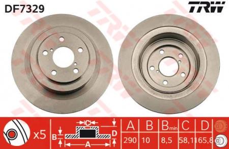 Диск тормозной задний, TRW, DF7329