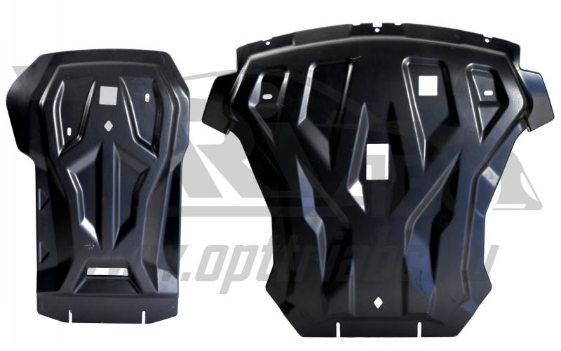 Защита картера двигателя и кпп BMW X6 V-3,5; 3,0TD (2011-2014) из 2-х частей (Композит 8 мм), 3401K
