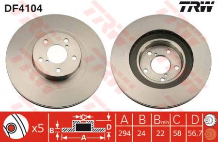 Диск тормозной передний, TRW, DF4104