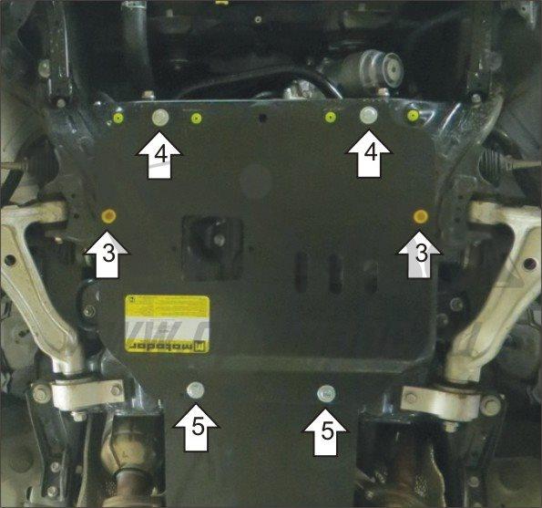 Защита картера двигателя Lexus GS300 V-3,0 (2005-2008)/Lexus GS350 V-3,5 (2008-2012-) (сталь 3 мм),