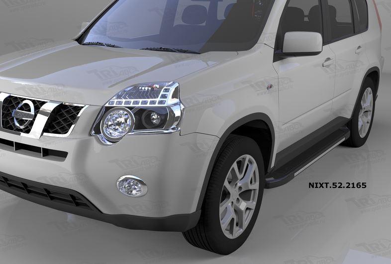 Пороги алюминиевые (Onyx) Nissan X-Trail (Ниссан Икстрейл) (2007-2010-2014), NIXT522165