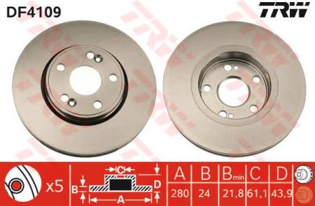Диск тормозной передний, TRW, DF4109
