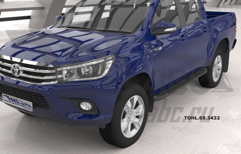 Пороги алюминиевые (Corund Black) Toyota HiLux (2015-), TOHL693432