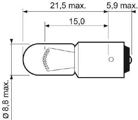 Лампа, 12 В, Вт, T4W, HELLA, 8GP 002 067-011