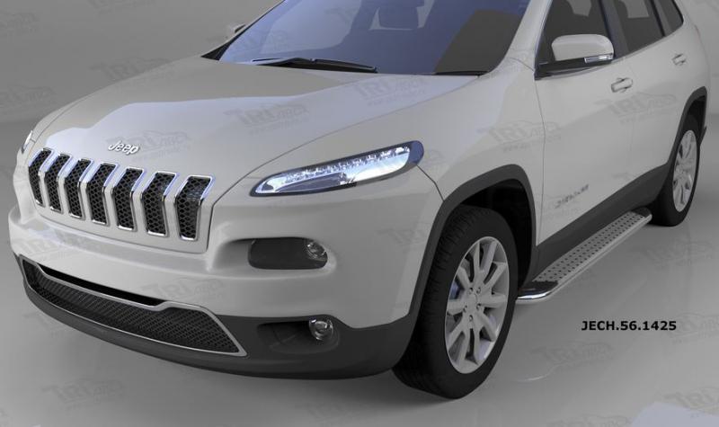 Пороги алюминиевые (Opal) Jeep Cherokee (2014-), JECH561425