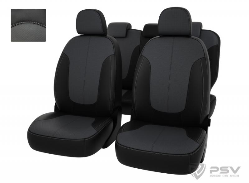 """Чехлы Chevrolet Spark III 2009-2015 чер-сер экокожа, """"Оригинал"""", 124687"""