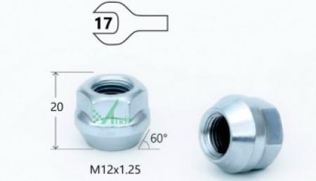 Гайка M12X1.25 Хром, высота 20 мм, Конус с выступ., откр., кл.17мм, MATRIX, 300044