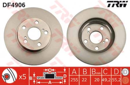 Диск тормозной передний, TRW, DF4906