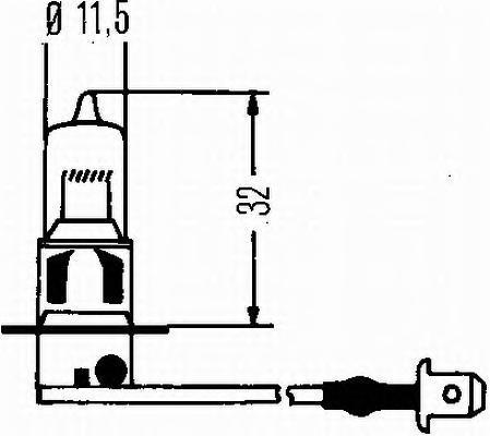 Лампа, 12 В, 55 Вт, H3, Pk22s, HELLA, 8GH 002 090-136