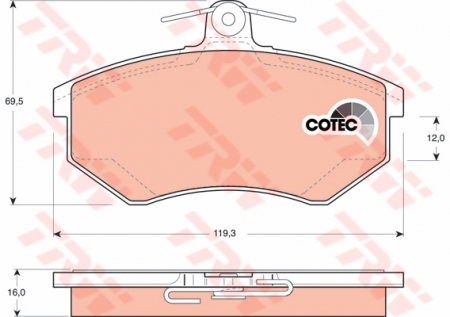 Колодки дисковые Передние, TRW, GDB1048
