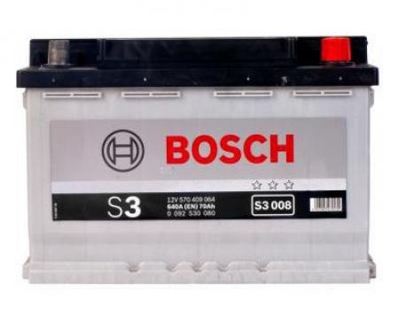 Аккумуляторная батарея Bosch S3, 12 В, 70 А/ч, 640 А, 0092S30080