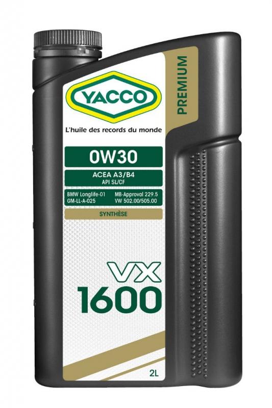 Масло моторное YACCO VX 1600 синт. 0W30 ,SL/CF (2 л)