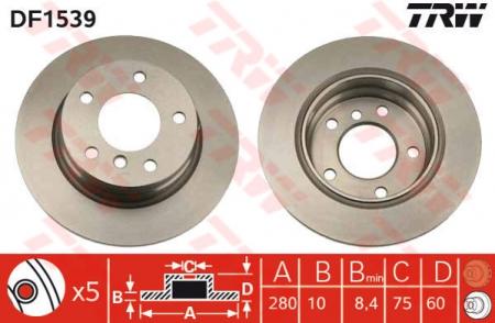 Диск тормозной задний, TRW, DF1539