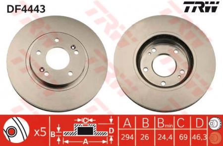 Диск тормозной передний, TRW, DF4443