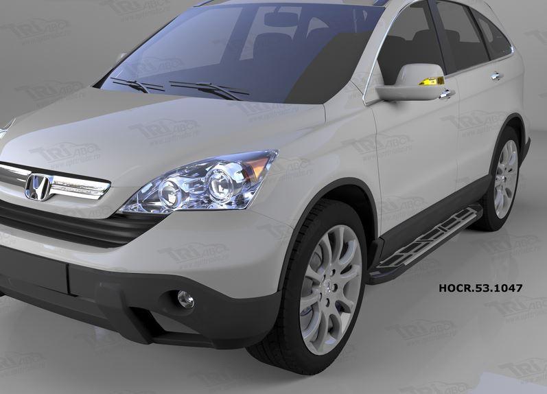 Пороги алюминиевые (Corund Silver) Honda (Хонда) CR-V (2007-2012), HOCR531047