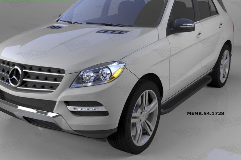 Пороги алюминиевые (Sapphire Black) Mercedes ML W166 (2011-), MEML541729