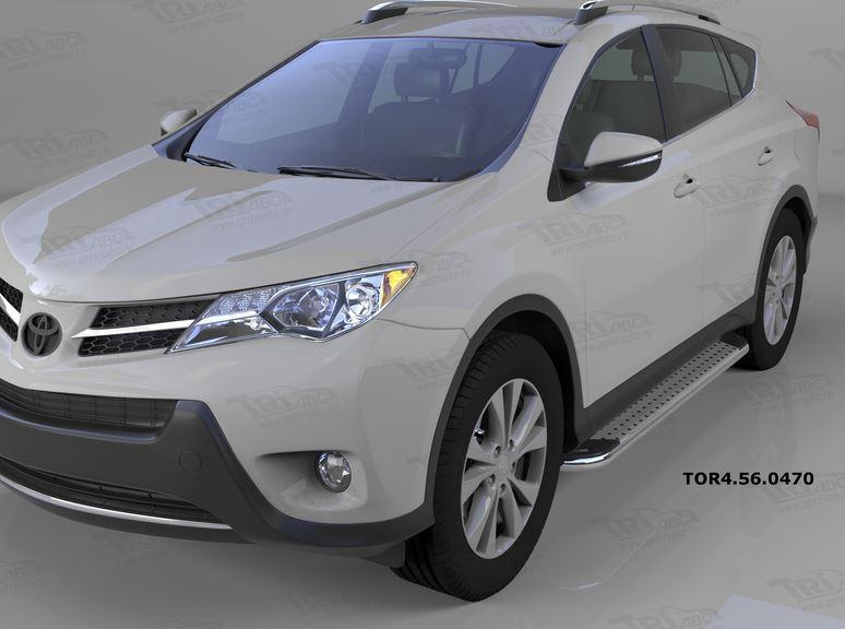 Пороги алюминиевые (Opal) Toyota RAV4 (Тойота РАВ4) (2013-/ 2015-) силовой крепеж, TOR4560470