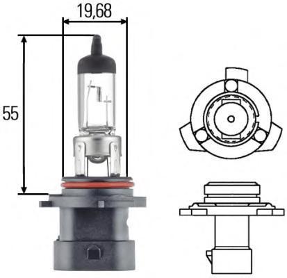 Лампа, 12 В, 51 Вт, HB4A, P22d, HELLA, 8GH 005 636-201