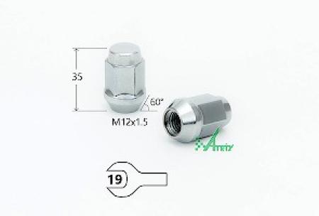 Гайка M12X1.50 Хром, высота 35 мм, Конус с выступ., закр., ключ 19мм, MATRIX, 401445