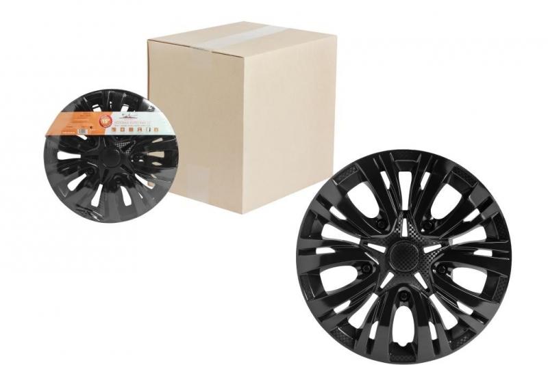 """Колпаки для колес AIRLINE 14""""Лион """" чёрный глянец,карбон. 2 шт, AWCC1404"""