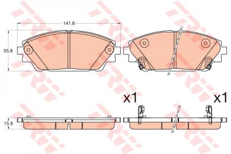 Колодки дисковые Передние, TRW, GDB3592