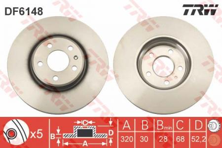 Диск тормозной передний, TRW, DF6148