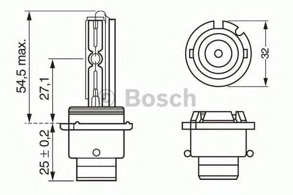 Лампа Xenon, 12 В, 35 Вт, D2S, P32d-2, BOSCH, 1 987 302 904