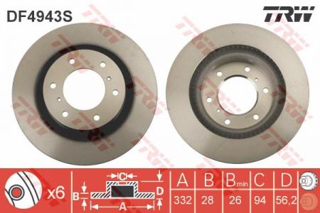 Диск тормозной передний, TRW, DF4943S