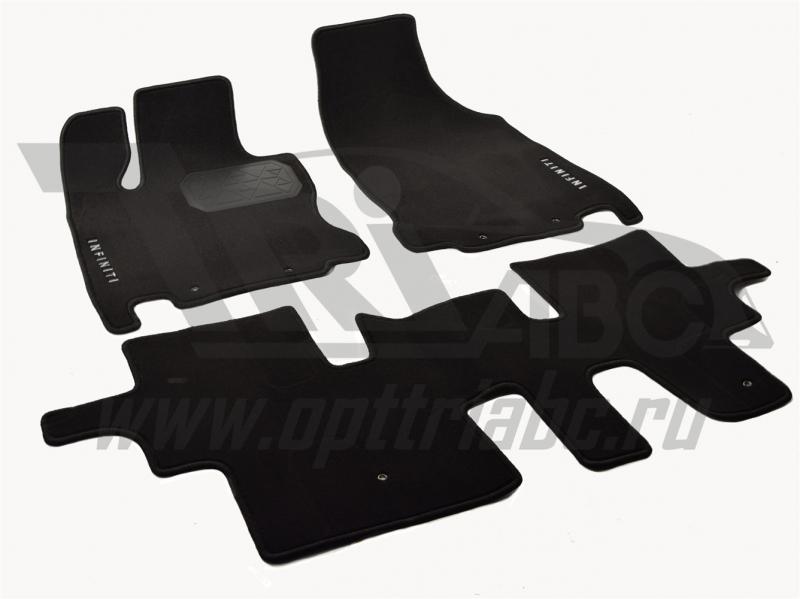Коврики салона текстильные Infiniti (Инфинити) JX 35 (2012) (Велюр, полиамид)(подпятник п/у)(черные)