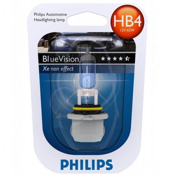 """Лампа """"BlueVision"""", 12 В, 51 Вт, HB4, P22d, PHILIPS, 9006 BV+B1"""