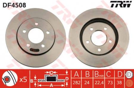 Диск тормозной передний, TRW, DF4508