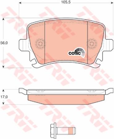 Колодки дисковые Задние, TRW, GDB1622
