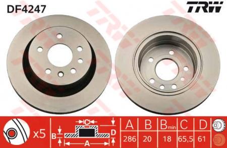 Диск тормозной задний, TRW, DF4247