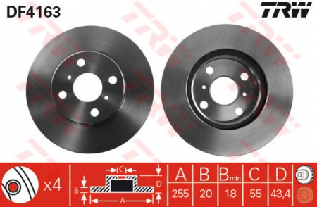 Диск тормозной передний, TRW, DF4163