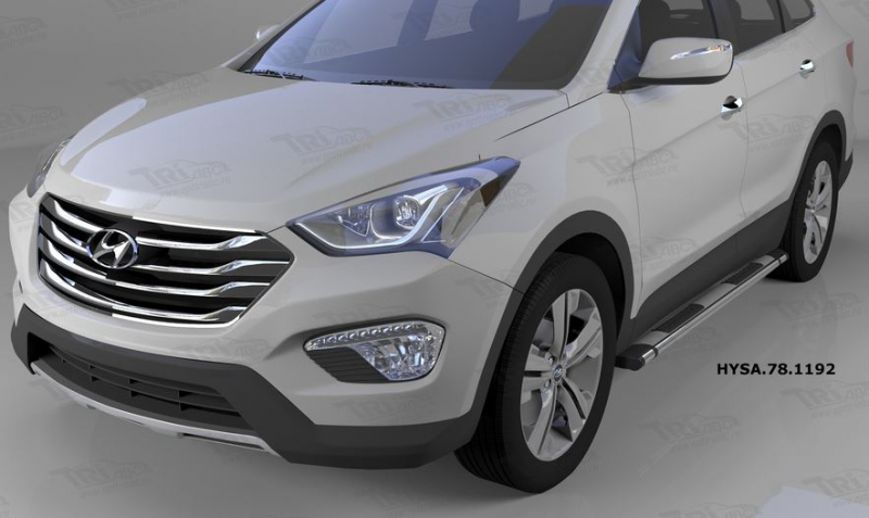 Пороги алюминиевые (Emerald silver ) Hyundai Santa Fe (Хёндай Санта Фе) (2012-/2013-/2015-), HYSA781