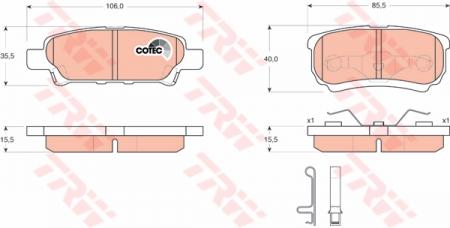 Колодки дисковые Задние, TRW, GDB3341
