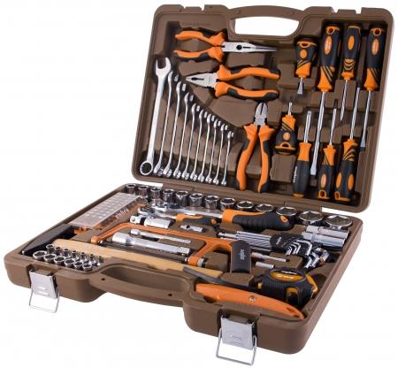 """OMT101S Универсальный набор инструмента торцевые головки 1/4"""", 1/2""""DR 4-32 мм, аксессуары к ним комбинированные ключи 8-19 мм, отвертки, 101 предмет"""