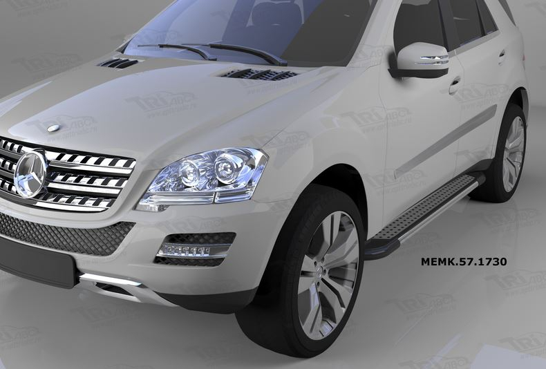 Пороги алюминиевые (Topaz) Mercedes ML W164 (2006-2011), MEMK571730