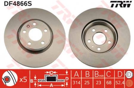 Диск тормозной передний, TRW, DF4866S
