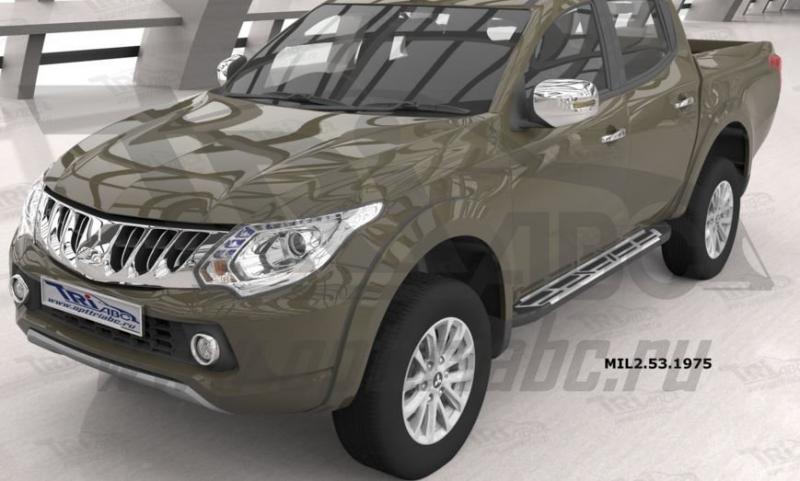 Пороги алюминиевые (Corund Silver) Mitsubishi L200 (2006-2013 / 2014- / 2015-), MIL2531975