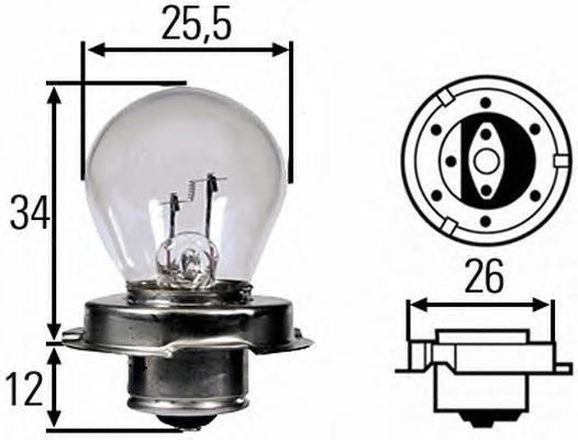 Лампа, 12 В, 15 Вт, S3, P26s, HELLA, 8GA 008 899-121