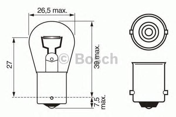 Лампа Trucklight, 24 В, 18 Вт, BA15s, BOSCH, 1 987 302 523