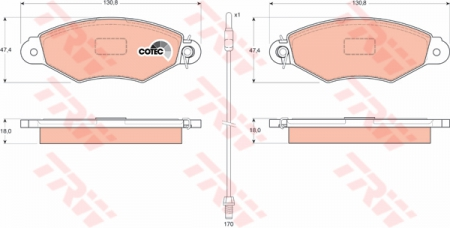 Колодки дисковые Передние, TRW, GDB1402