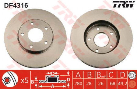 Диск тормозной передний, TRW, DF4316