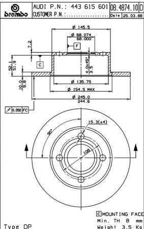 Диск тормозной задний, BREMBO, 08487414