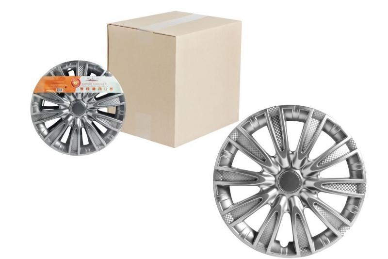 "Колпаки для колес AIRLINE 15""Торнадо"" серебристый,карбон. 2 шт, AWCC1506"