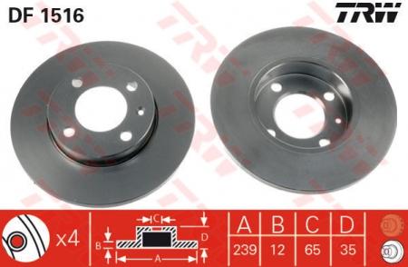 Диск тормозной передний, TRW, DF1516