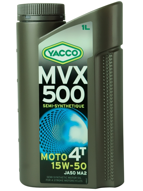 Масло для мотоциклов с 4-тактными двигателями YACCO MVX 500 4T п/синт. 15W50, SL (1 л)