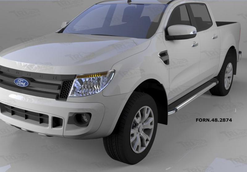 Пороги алюминиевые (Brillant) Ford Ranger (2012-) (черн./нерж.), FORN482874