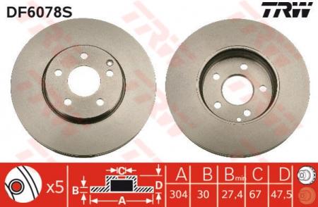 Диск тормозной передний, TRW, DF6078S